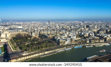 View from Eiffel Tower on the river and city of Paris, France