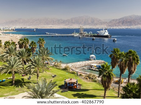 View from Eilat south district towards Aqaba in Jordan, Eilat. Israel