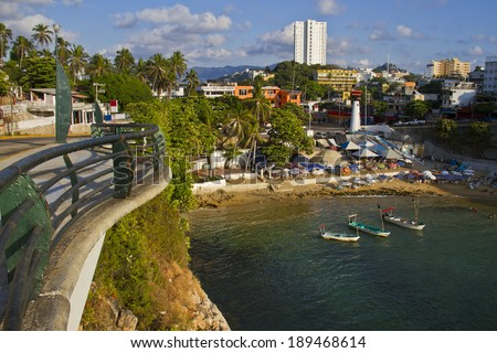 View from embankment of Acapulco - stock photo