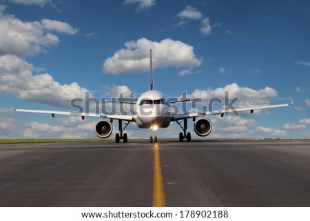 View from eye to eye on the plane on taxiway - stock photo