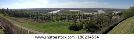 View from Fort Hill in Vicksburg National Military Park, Mississippi - stock photo