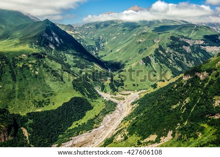 View from Georgian Military Highway in northern part of Georgia - stock photo
