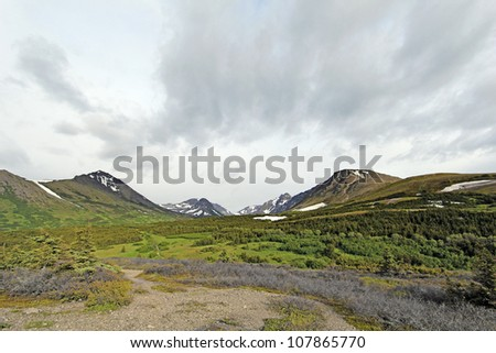 View from Glen Alps / Flattop Mountain lookout - stock photo