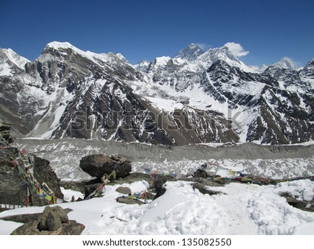 View from Gokyo Ri, Mt Everest - stock photo
