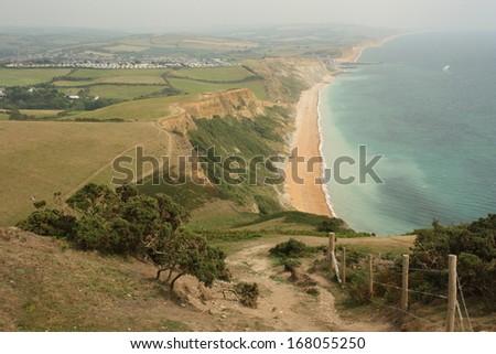 view from Golden Cap in Dorset - stock photo