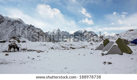 View from Gorak Shep village to Everest Base Camp direction after snowstorm - Nepal, Himalayas - stock photo