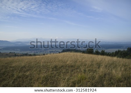 View from Gorce Mountains, sunrise on historic Szepes country land