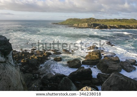 View from Governor Heads towards Bowen island. Booderee National Park. Jervis Bay. NSW. Australia. - stock photo