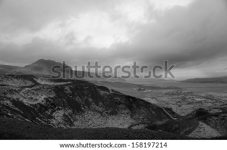 View from Grabrok Crater Top, Iceland. - stock photo