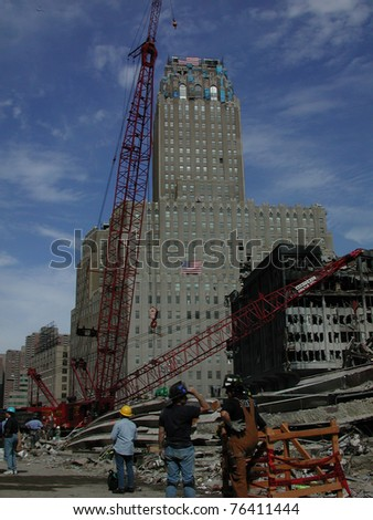 View from Ground Zero World Trade Center on 9-18-2001 - stock photo