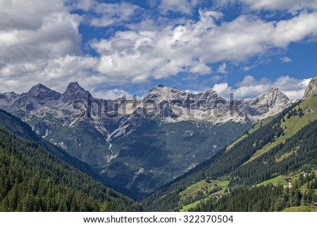 View from Hahntennjoch -  Bschlaber valley and the Lechtal Alps   - stock photo