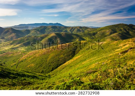 View from Hawk Hill,  Golden Gate National Recreation Area, in San Francisco, California. - stock photo