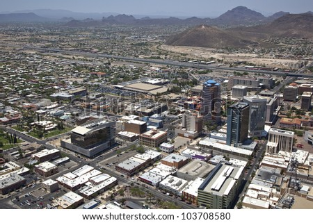 View from helicopter of downtown Tucson, Arizona