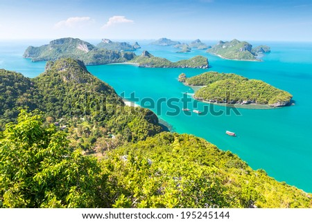 View from highest viewpoint of Angthong national marine park near Koh Samui, Thailand  - stock photo