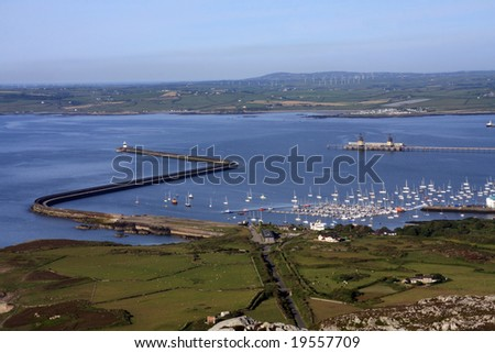 View from Holyhead Mountain to Holyhead Port and marina