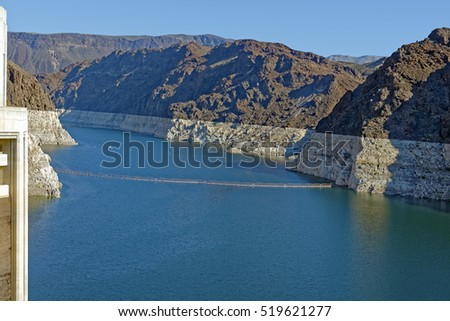 View from Hoover Dam of the impounded waters of Lake Mead on the border between Arizona and Nevada