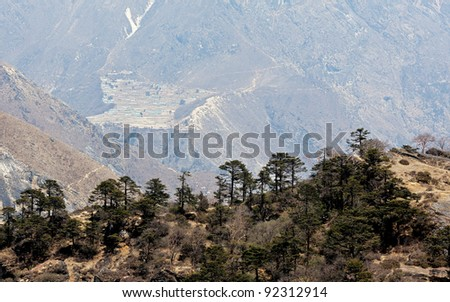 View from hotel Everest View on the village Phortse - Nepal, Himalayas - stock photo