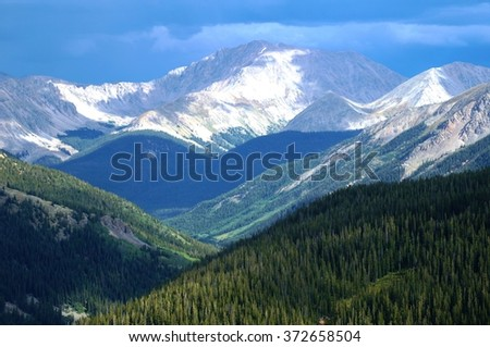 View from Independence Pass on the Continental Divide in Colorado, USA