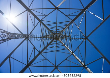 View from inside a metal electric tower. - stock photo