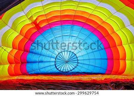View from inside of hot air balloon - stock photo