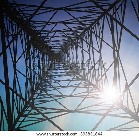 View from inside telecommunication tower with antennas.high voltage post.High-voltage tower over blurred sky background.concept industry; technology; electrical energy - stock photo