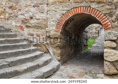 View from inside the Baba Vida fortress in Vidin, Bulgaria. Baba Vida is a medieval fortress in Vidin in northwestern Bulgaria and the town's primary landmark. - stock photo