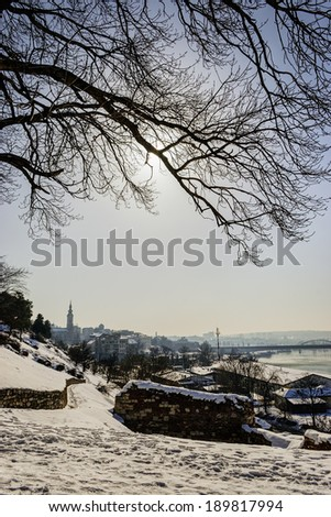View from kalemegdan park at winter - stock photo