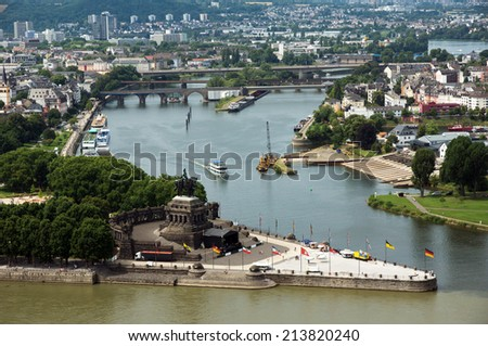 View from Koblenz town, Germany - stock photo