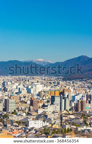 View From Kyoto Tower with Clear Blue Sky, Kyoto, Japan