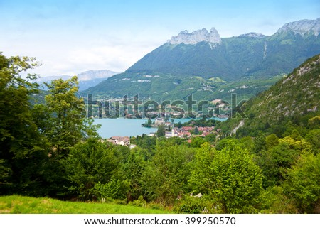 View from lake Annecy, France, region Haute Savoy - stock photo