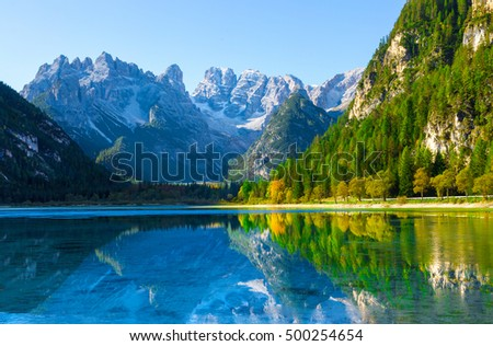 view from Lake di Landro, Dolomites, Italy to massif Monte Cristallo