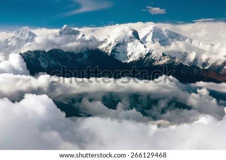 view from langtang to ganesh himal - stock photo