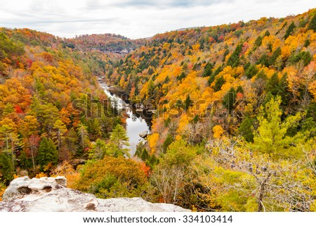 View from Lilly Bluff Overlook at Obed Wild and Scenic River - stock photo