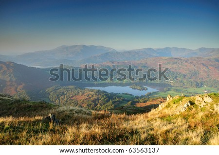 View from Lord Crag towards Wetherlam and the Coniston Fells in the English Lake District - stock photo