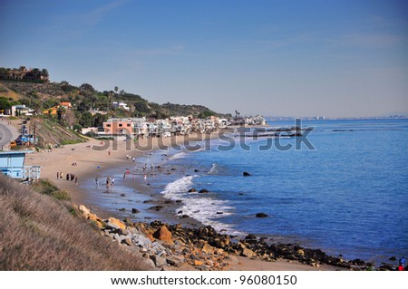 view from Malibu Pier, California, USA - stock photo