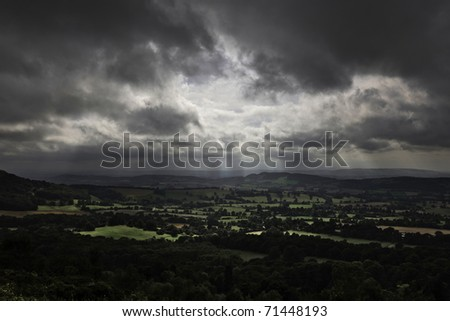 View from Malven Hills, Scenic Landscape With Dramatic Sky - stock photo