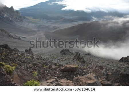 View from Mauna Kea mountain of a valley.