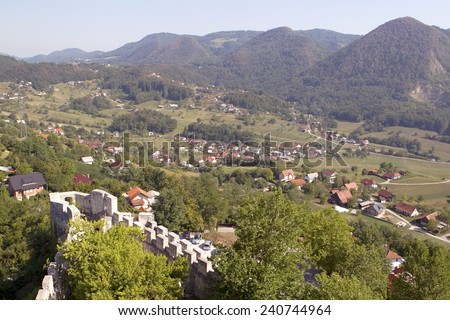 View from Medieval castle of Celje, Slovenia - stock photo