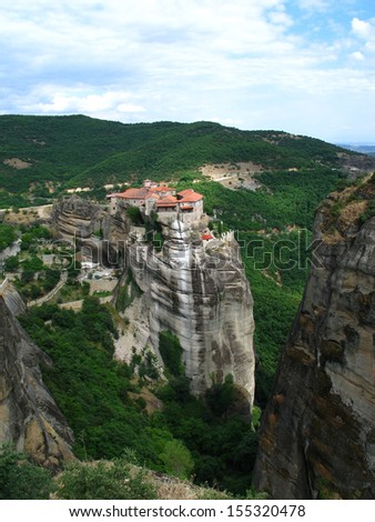 View from Meteora monastery in Greece, with mountains - stock photo