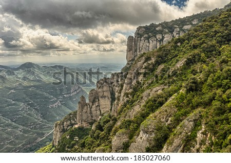 View from Montserrat, Catalonia,  Spain.