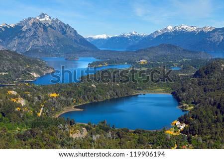 View from Mount Campanario, Bariloche, Patagonia, Argentina - stock photo