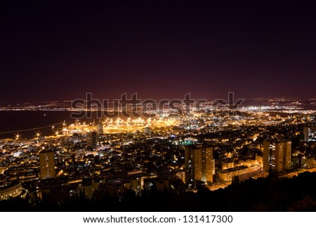 View from Mount Carmel to port and Haifa in Israel