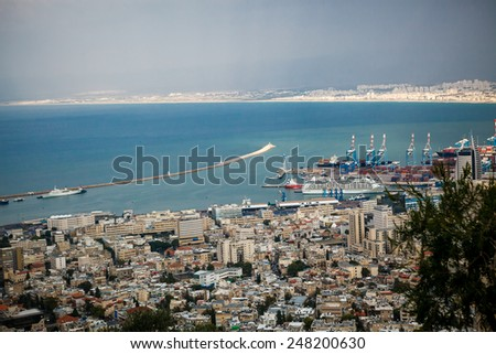 View from Mount Carmel to port and Haifa in Israel.Sunny Mediterranean landscape - stock photo