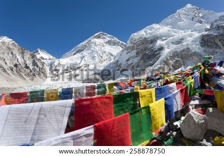 view from Mount Everest base camp with rows of buddhist prayer flags - Sagarmatha national park - Khumbu valley - Nepal - stock photo
