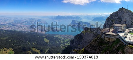 View from Mount Pilatus to Lake Lucerne, city of Lucerne and Mount Rigi in the background, Switzerland, Europe - stock photo