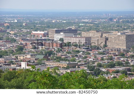 View from Mount Royal in Montreal, Canada - stock photo