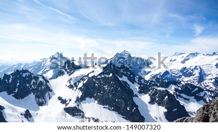 View from mount Titlis over the Swiss alps