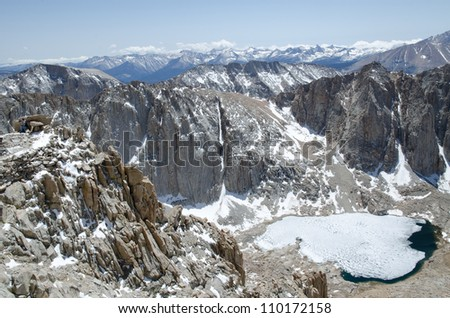 View from Mount Whitney trail on the way to the highest summit in California and contiguous USA - stock photo