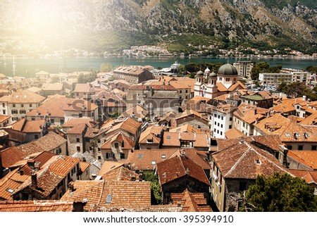 View from Mountain in Sunny Day on Kotor Bay and Old Town, Montenegro. - stock photo