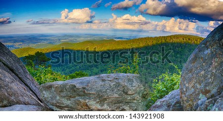 View from mountain top in virginia - stock photo